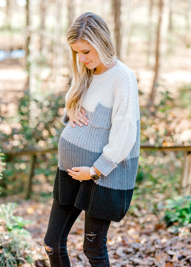 Gray Delight Sweater for the Bump