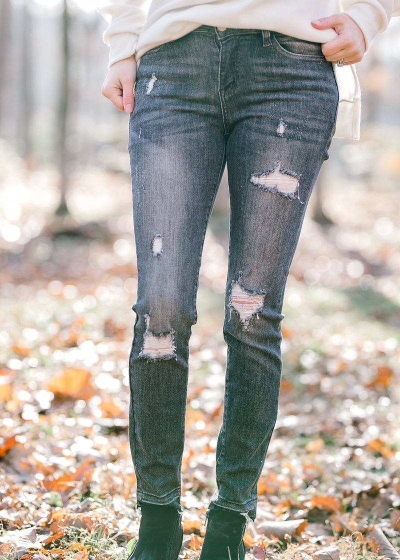 distressed stonewash gray jeans - epiphany boutiques