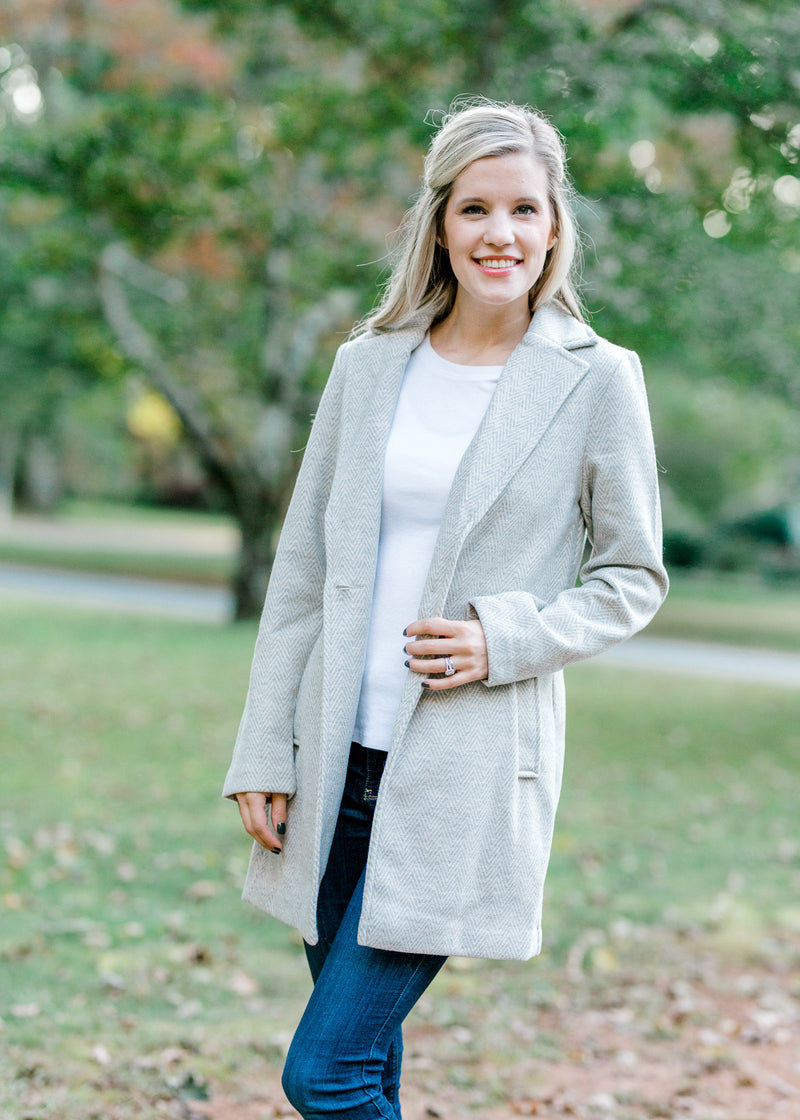 gray coat with button - epiphany boutiques