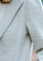 cream and gray herringbone weave coat - epiphany boutiques