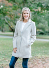 cream and gray herringbone coat - epiphany boutiques