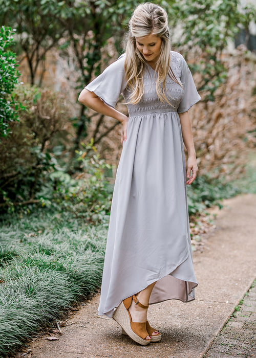 gray smocked maxi - epiphany boutiques