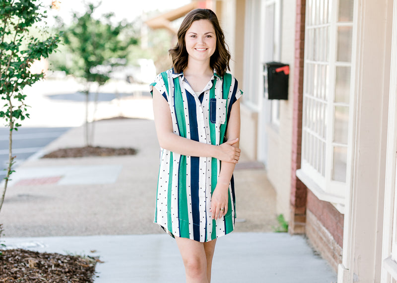 B Green and Navy Striped Dress