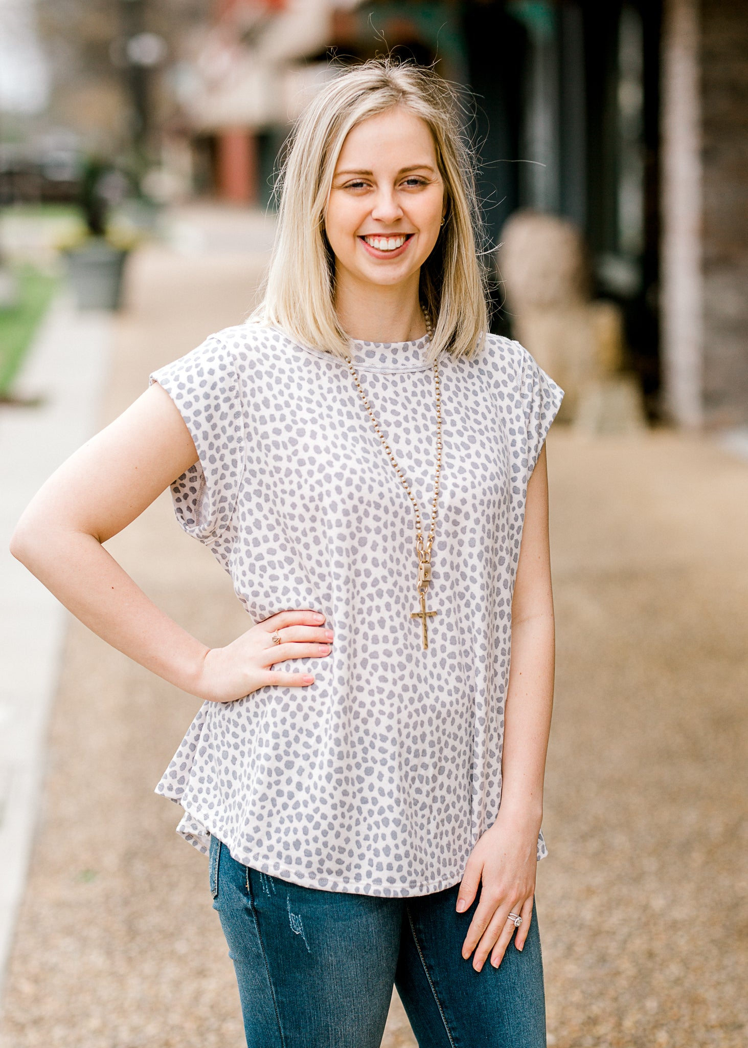 top with grey and cream small dots - epiphany boutiques