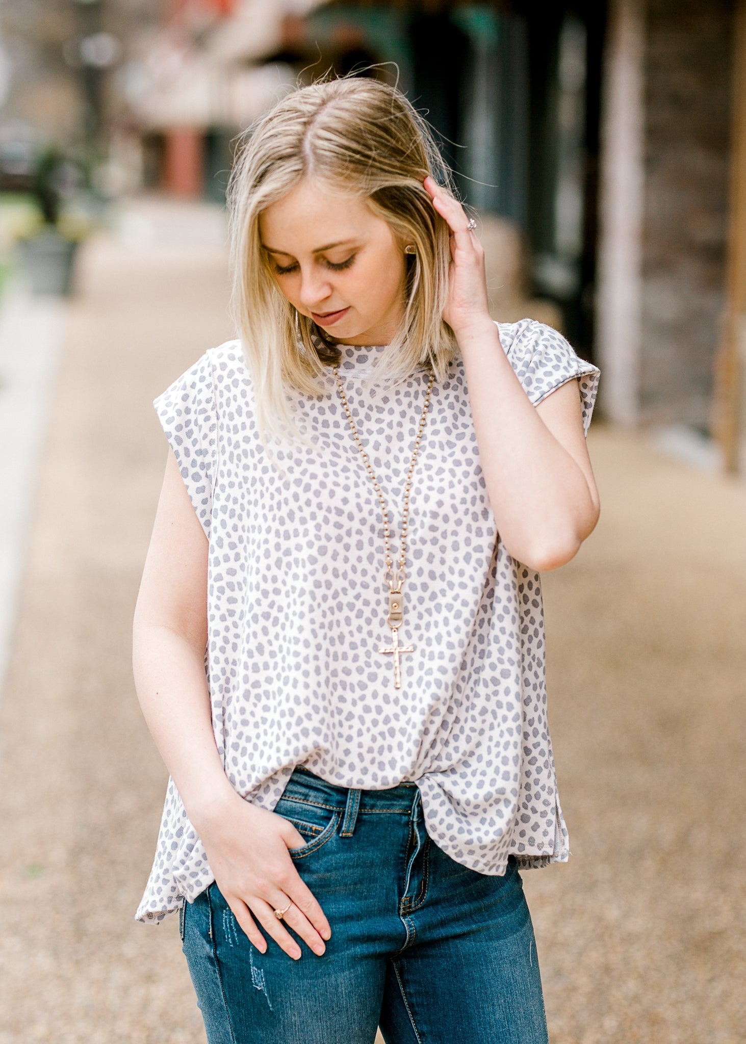 top with grey and white dots - epiphany boutiques