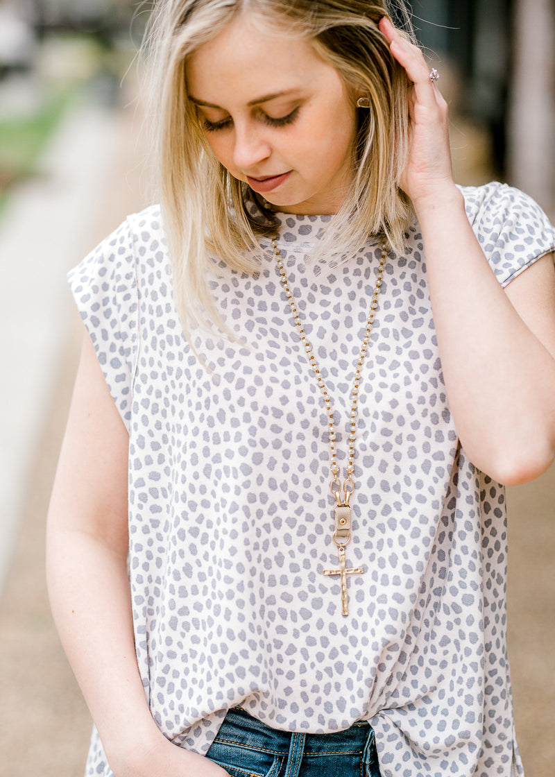 white and grey dot top -  epiphany boutiques