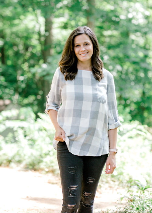 grey plaid top - epiphany boutiques