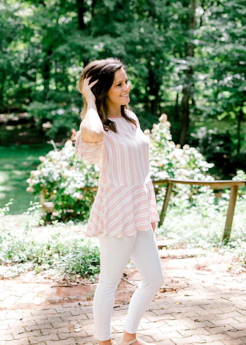 pink, red and white striped top - epiphany boutiques