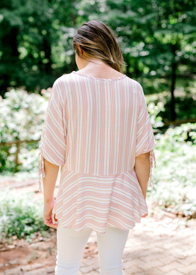 back view of pink red and white stripe top - epiphany boutiques