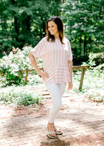 striped top in red, pink and white - epiphany boutiques