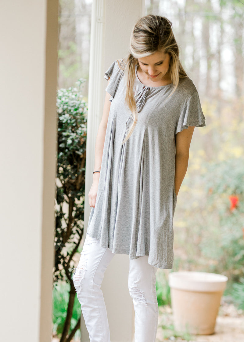 pleated grey top - epiphany boutiques