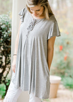 butterfly ruffle grey top - epiphany boutiques