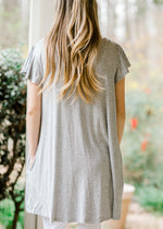back view of grey top - epiphany boutiques