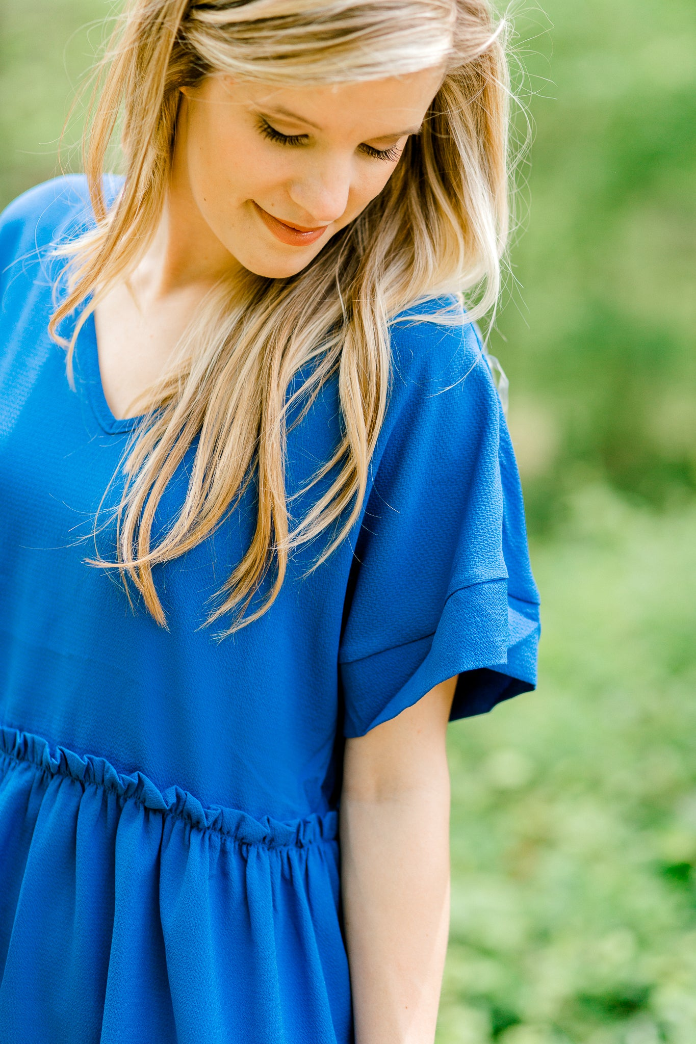 royal blue top with ruffled tier - epiphany boutiques
