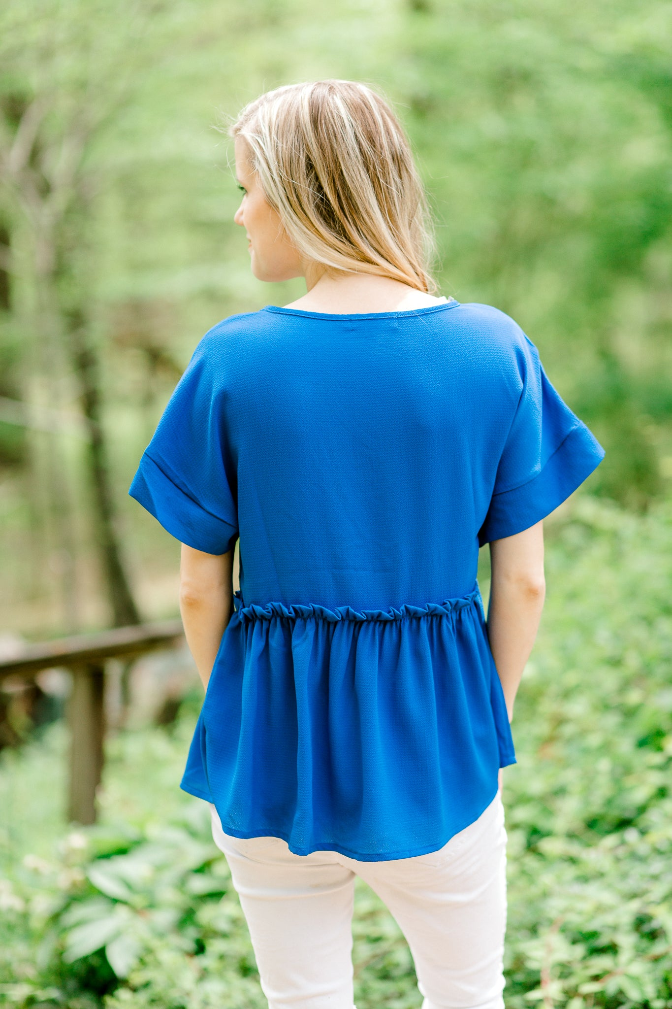 royal blue top back view - epiphany boutiques