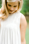 ivory smocked sleeveless top - epiphany boutiques