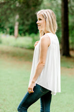 ivory sleeveless top with smocking - epiphany boutiques