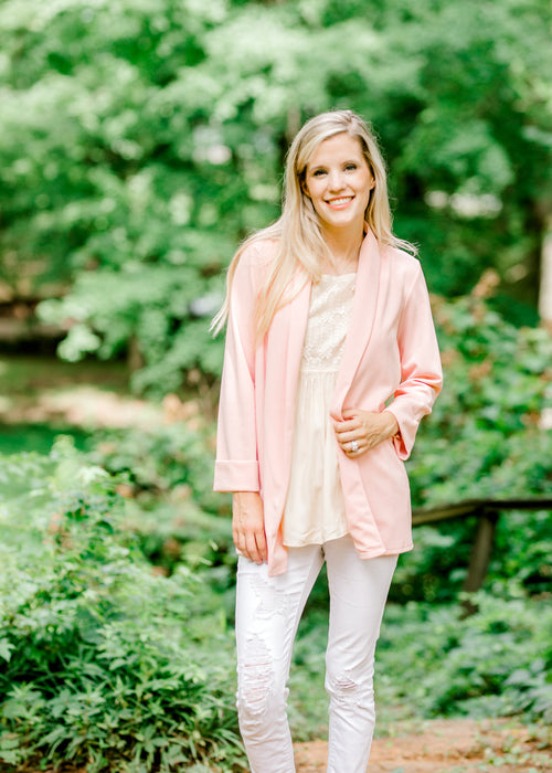 long sleeve pink blazer - epiphany boutiques