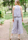 back view Lavender Jumpsuit for women front view, racer back, mid calf length. Epiphany Boutiques