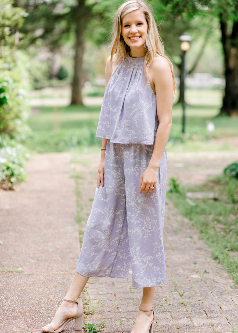 Lavender Jumpsuit for women front view, racer back, mid calf length. Epiphany Boutiques