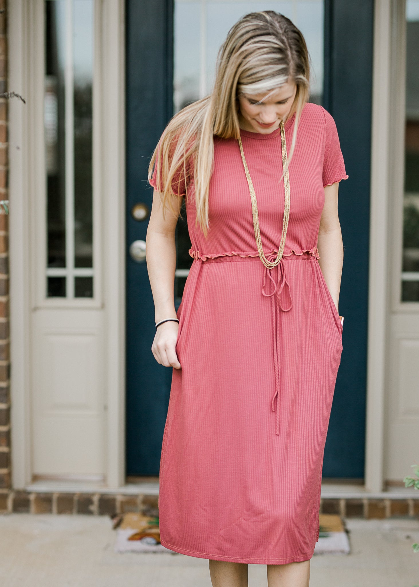 marsala dress with pockets - epiphany boutiques