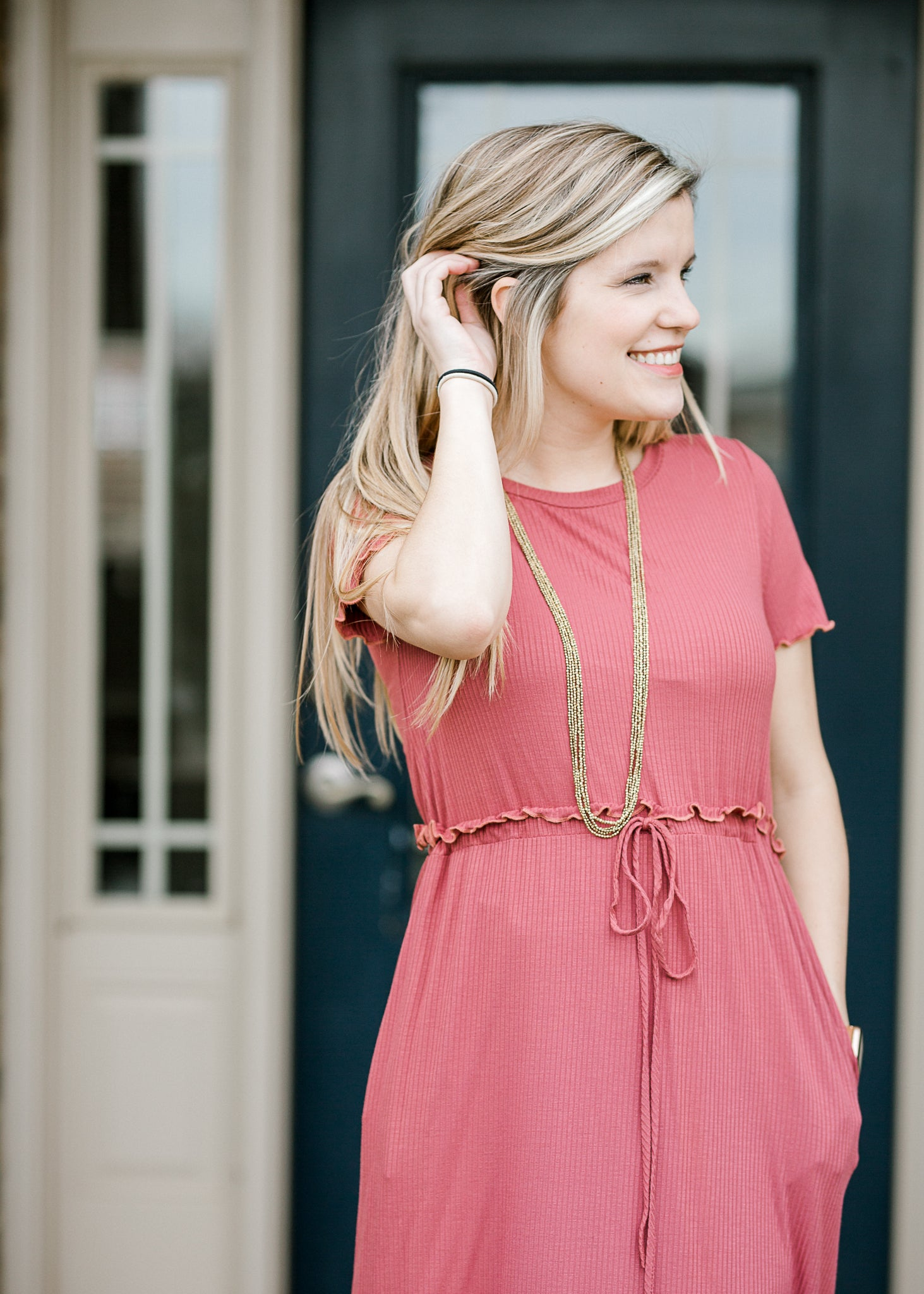 marsala dress with drawstring - epiphany boutiques