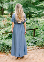 blue maxi dress back view - epiphany boutiques
