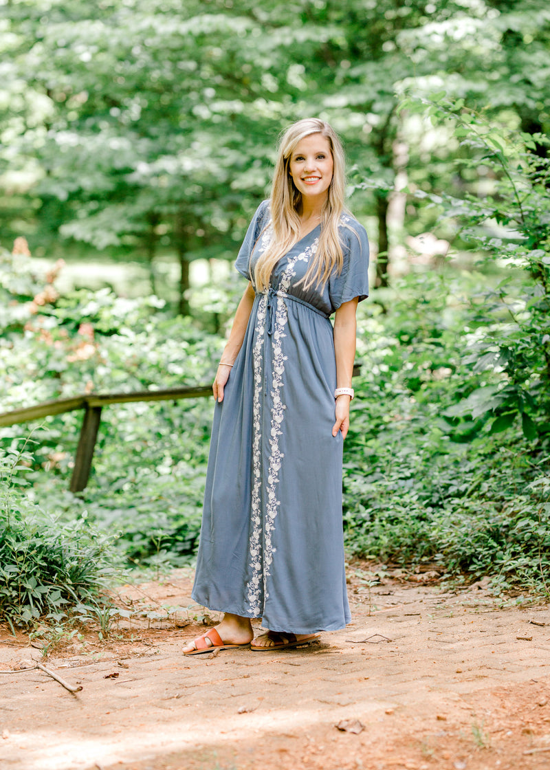 short sleeve maxi in blue - epiphany boutiques