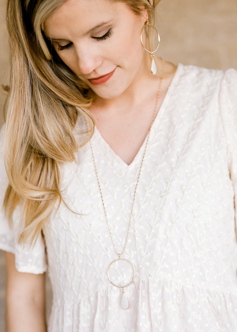 ivory circle and teardrop necklace - epiphany boutiques
