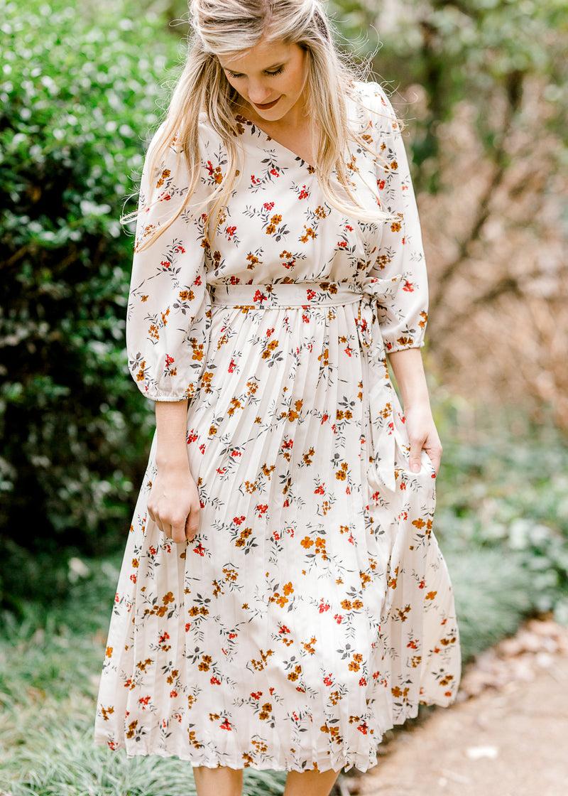 floral dress with front tie - epiphany boutiques