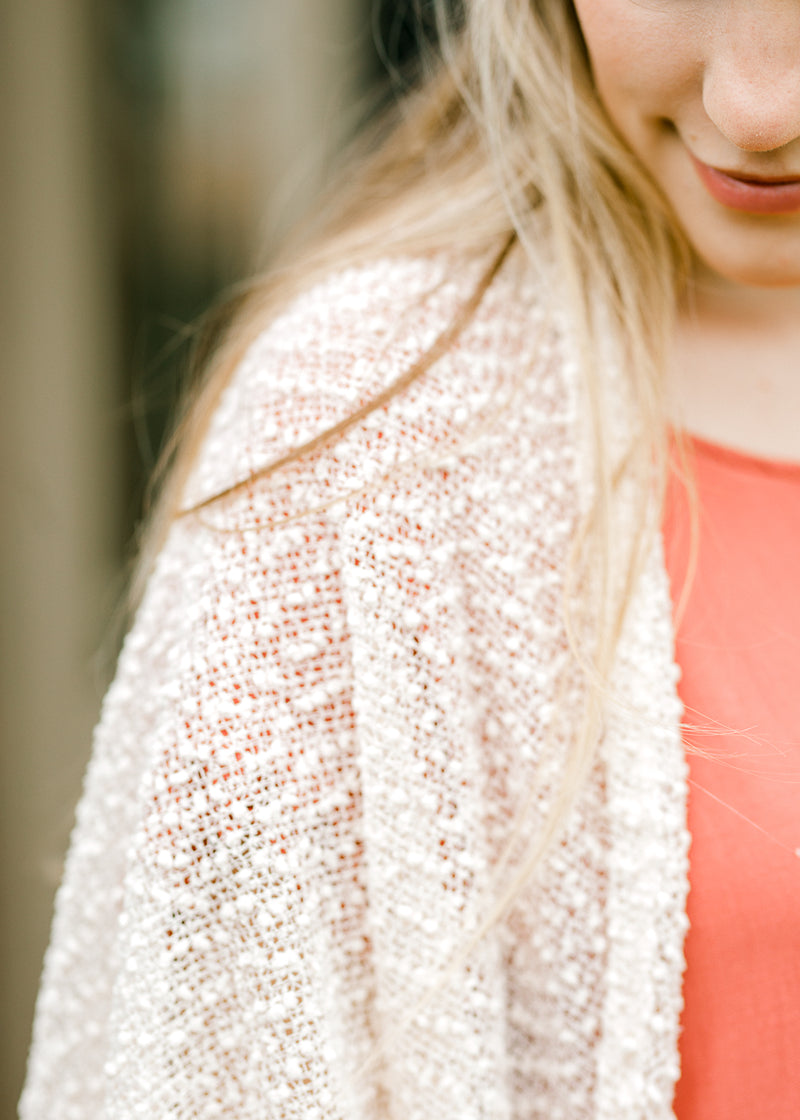 ivory summer cardigan detailed view - epiphany boutiques
