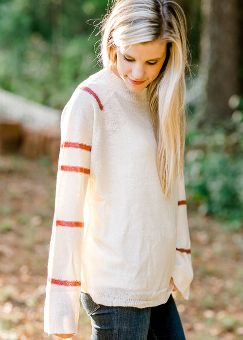 cream and rust sweater - epiphany boutiques