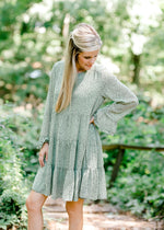 long sleeve jade green dress - epiphany boutiques