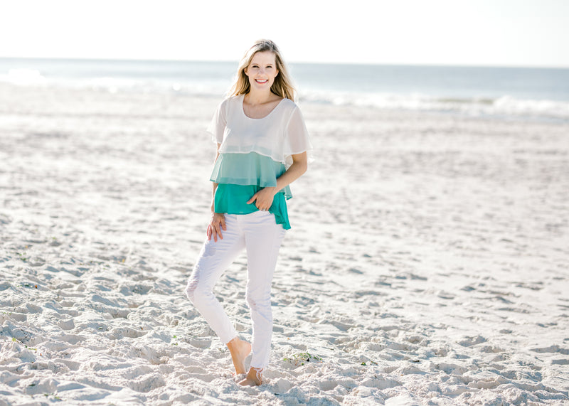 short sleeve jade and cream top -  epiphany boutiques