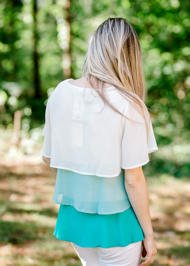 tiered jade and cream top back view -  epiphany boutiques
