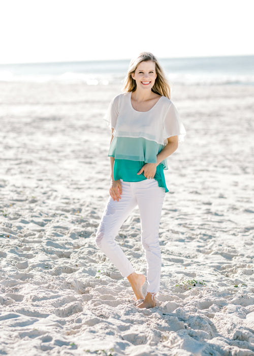 jade and cream top -  epiphany boutiques