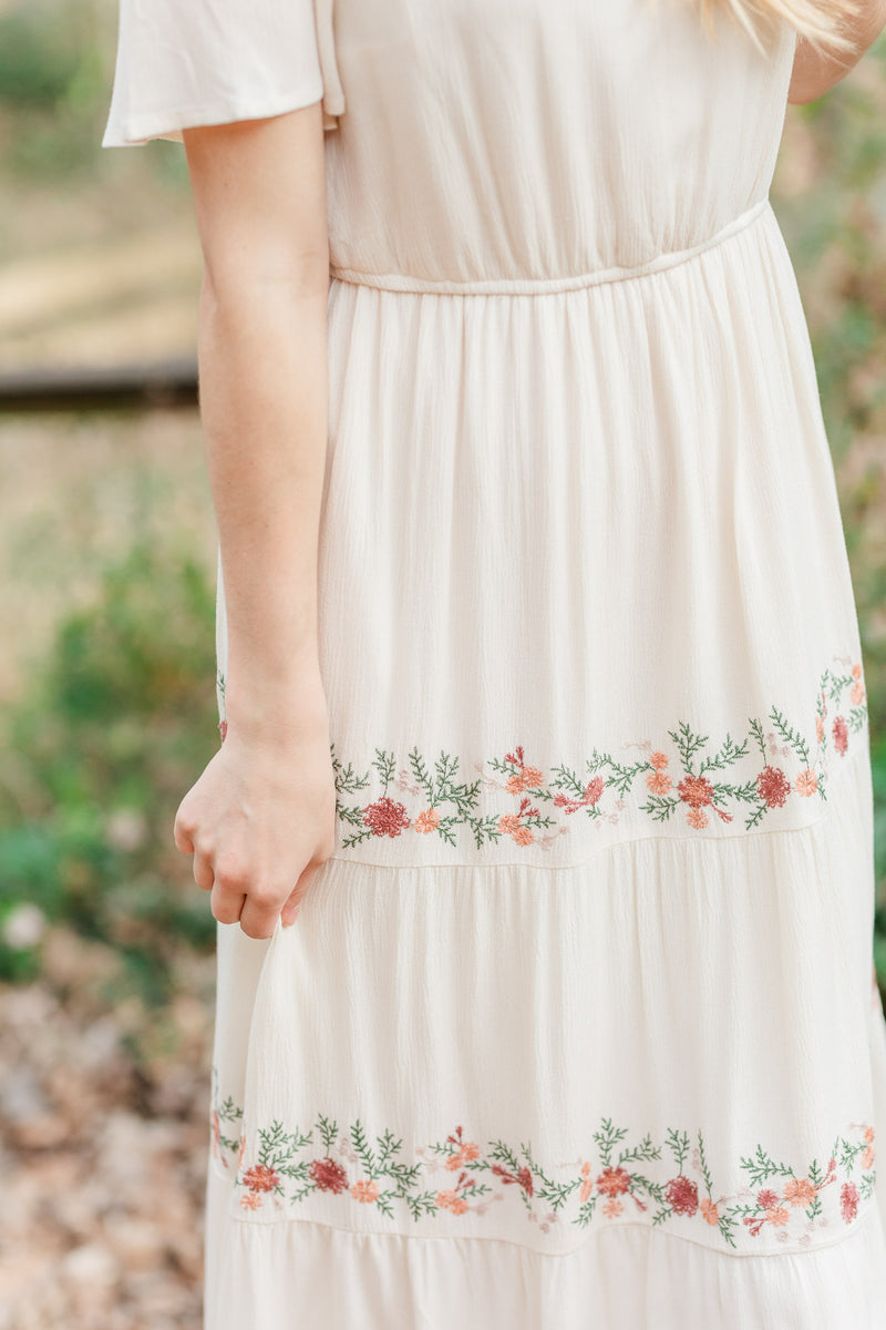 Jane Cream Embroidered Midi Dress