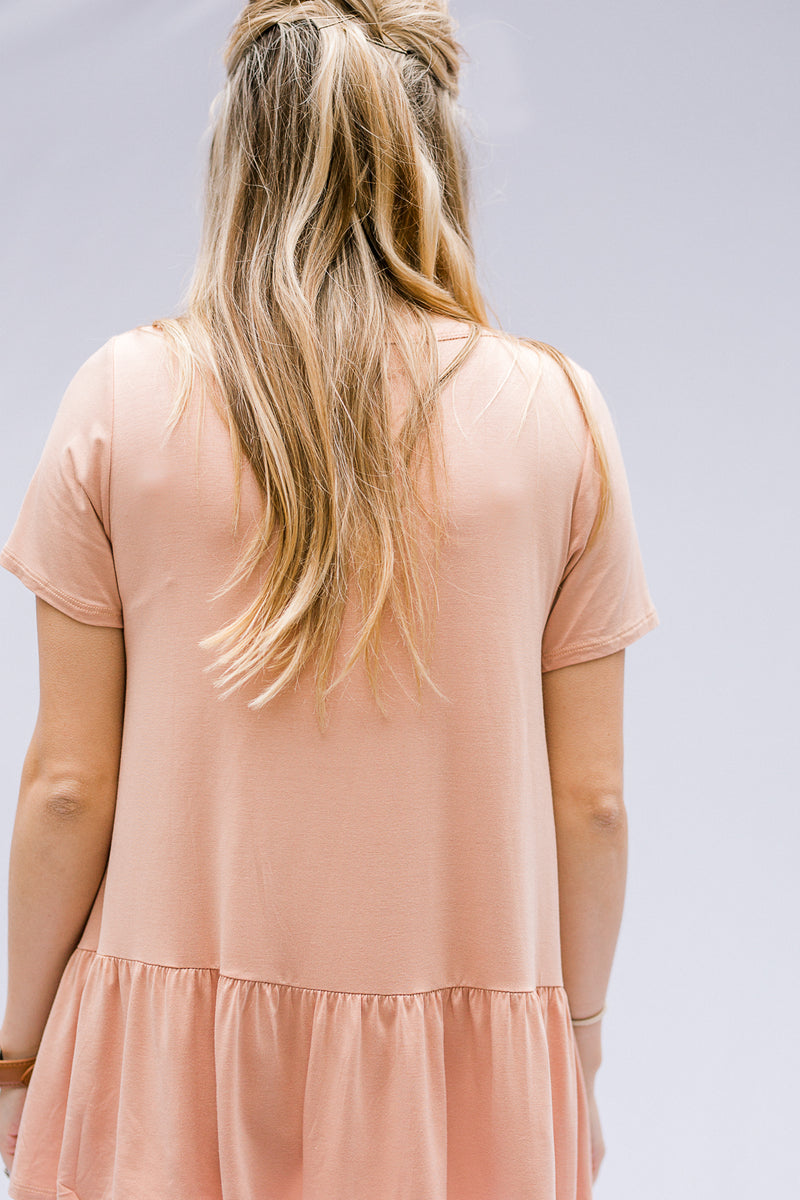 short sleeve top in salmon - epiphany boutiques