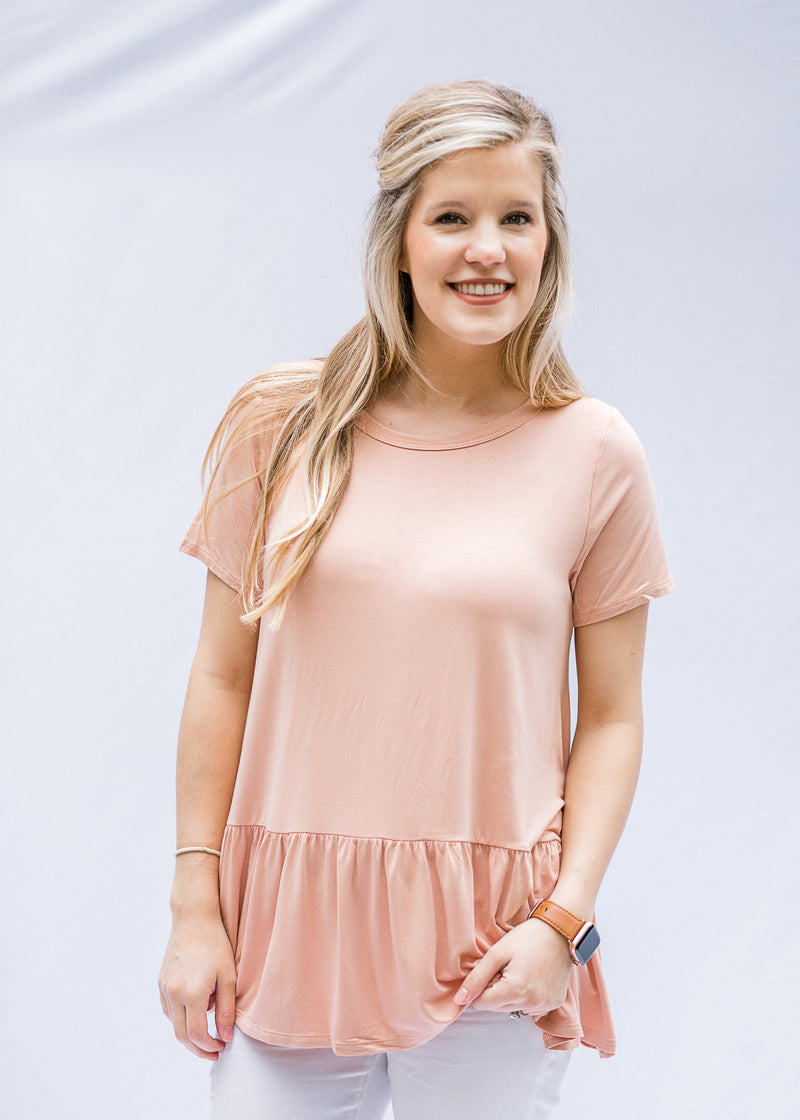 bamboo top in salmon - epiphany boutiques