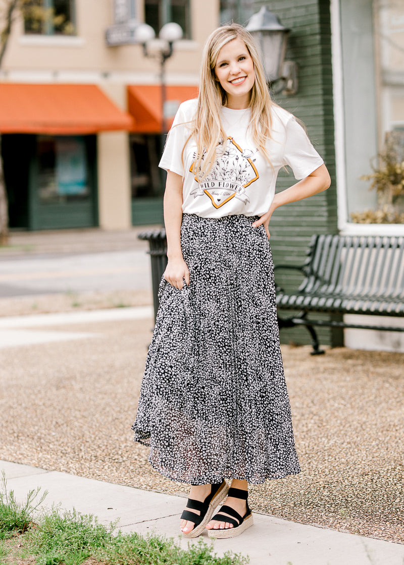fully lined black and white midi skirt - epiphany boutiques