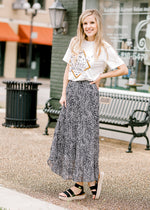 mid skirt in black and white - epiphany boutiques
