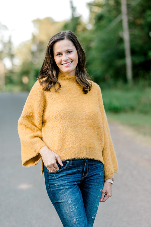mustard sweater - epiphany boutiques