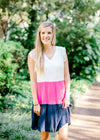 tiered dress with white hot pink and navy -  epiphany boutiques