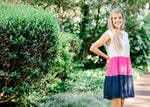 model in a color block dress -  epiphany boutiques