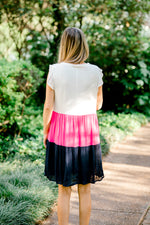 back view of color block dress -  epiphany boutiques