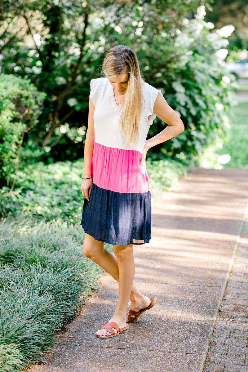 color block dress that is fully lined - epiphany boutiques