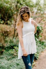 B Layer or Not Babydoll Top in Ivory for the Bump