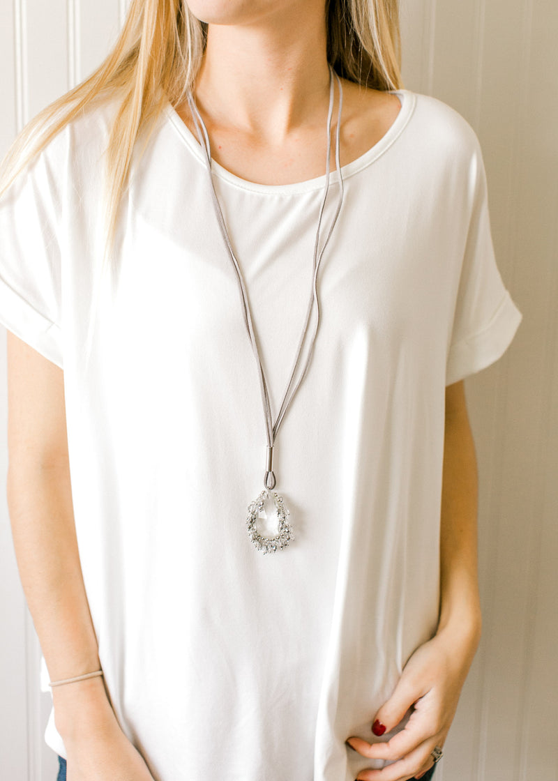 Leather + Crystal Necklace