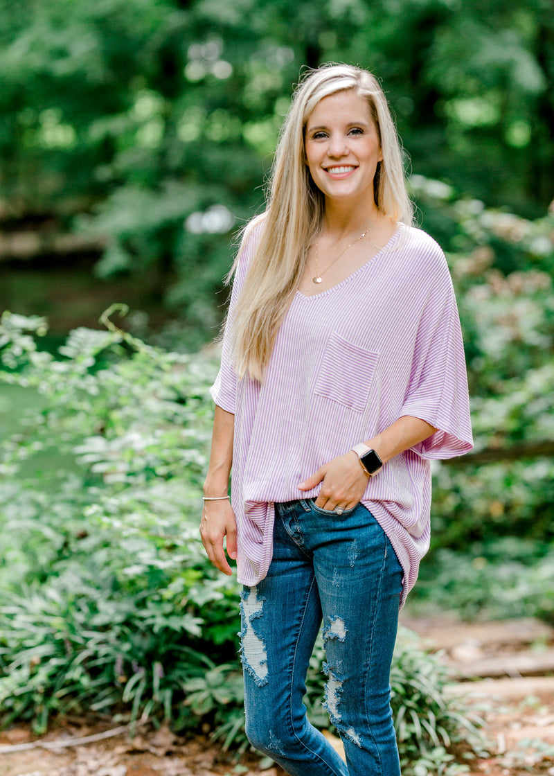 Let's Talk Lavender Striped Top