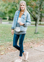 denim jacket with pockets - epiphany boutiques
